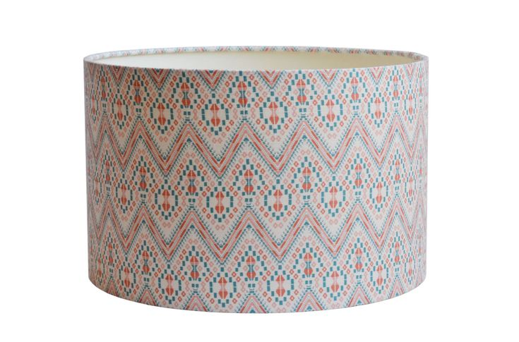 Arum Fellow Drum (Nenton Coral and Jade) | linen Lampshades | Arum Fellow lampshades