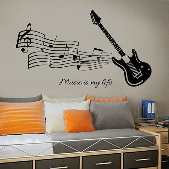 GUITAR MUSIC DECAL  Music Is My Life Decal by iSignsDecalStudio, $29.00