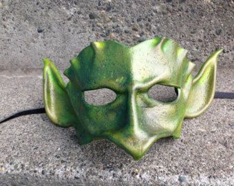 Olive Imp Leather Mask Green Goblin Cosplay Costume by beadmask