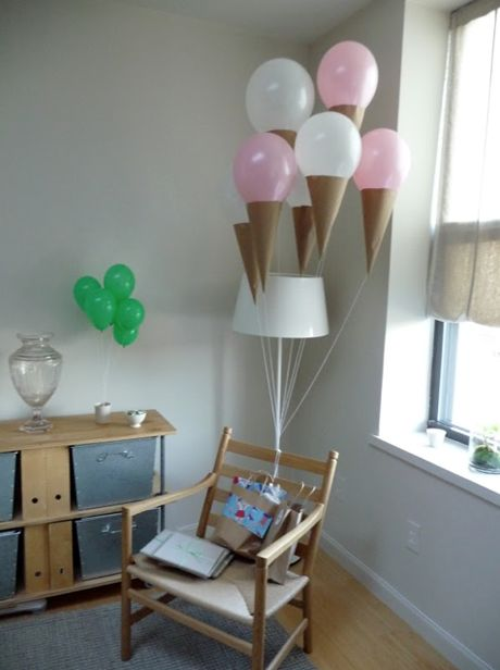 Turn balloons into ice cream cones- Birthday idea!: Helium Balloon, Kids Parties, Paper Cones, Birthday Parties, Cones Balloon, Parties Ideas, Icecreamballoon, Ice Cream Cones, Ice Cream Balloon