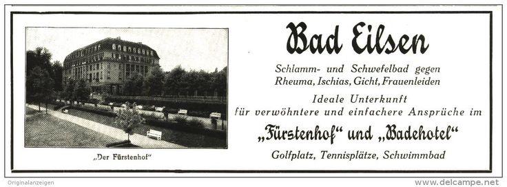 Original-Werbung/Inserat/ Anzeige 1929 - BAD EILSEN / FÜRSTENHOF- BADEHOTEL - ca. 200 x 60 mm