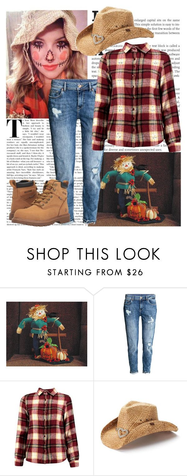 """Scarecrow Costume"" by shadow13goddess101 ❤ liked on Polyvore featuring H&M, Boohoo, Peter Grimm, Wolverine, halloweencostume and DIYHalloween"