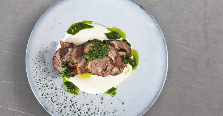 Slow-cooked lamb shoulder with gremolata and turnip and vanilla purée