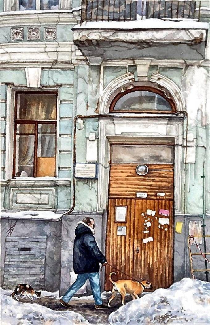 В Б. Казенном переулке. Прогулка по Москве. Картины Алены Дергилевой