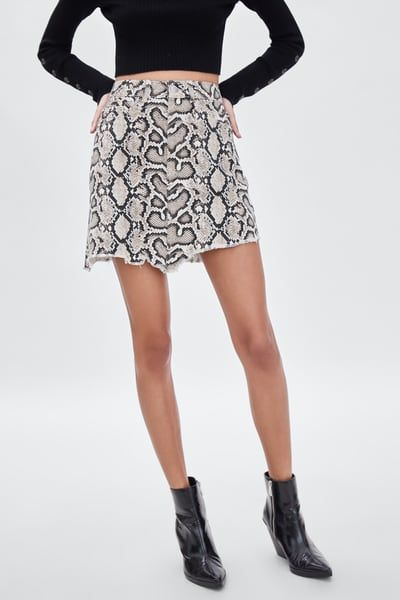 dd7b2680d395 SNAKESKIN PRINT MINI SKIRT   style   Mini skirts, Printed skirts, Skirts
