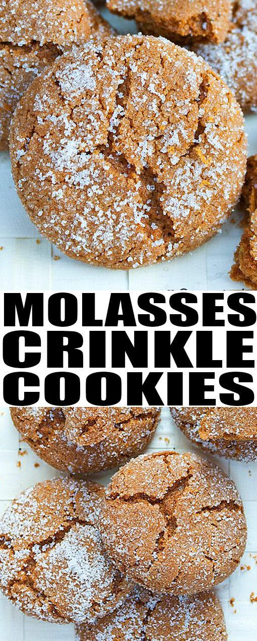 Easy MOLASSES COOKIES recipe that are soft and chewy on the inside but crispy on the outside. These old fashioned molasses crackle cookies are perfect for Christmas cookie exchange parties. From  #cookies #molasses #cookieexchange #recipe From cakewhiz.com