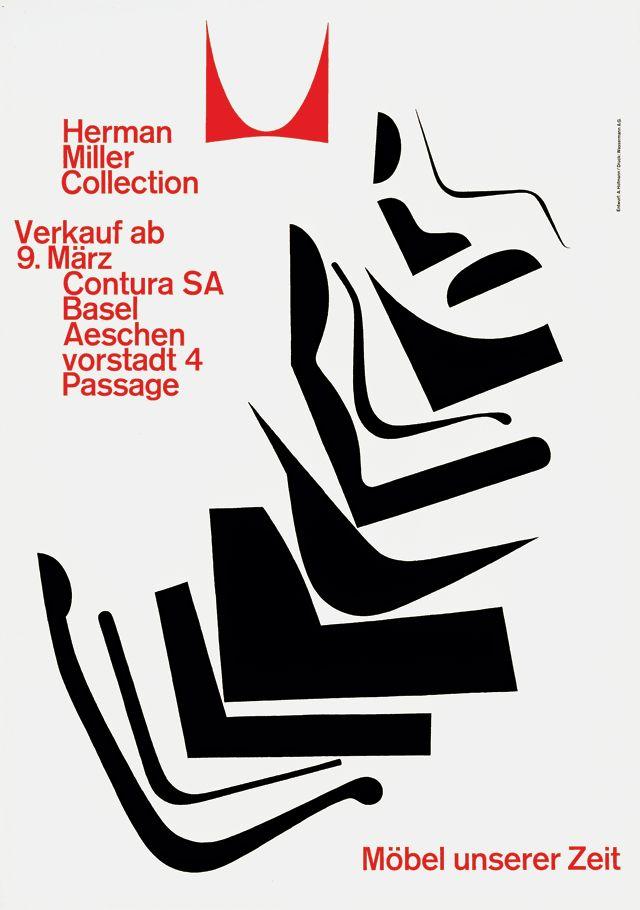 """""""Herman Miller Collection, Möbel unserer Zeit,"""" lithograph, 1962. Designer: Armin Hofmann; printer: Wassermann A.G., Basel."""