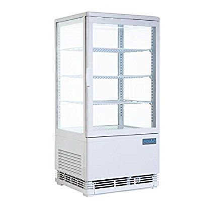 Heavy Duty Curved Door Display Fridge 86Ltr White /Commercial Retail Shop Restaurant Cafe Bar Pub Food Drinks Cake Display Refrigerator