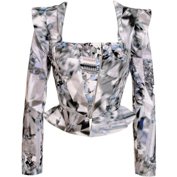 William Tempest Corseted jacket with diamond print ($1,545) ❤ liked on Polyvore featuring outerwear, jackets, tops, shirts, high collar jacket, colorful jackets, zipper jacket, zip jacket and long sleeve jacket