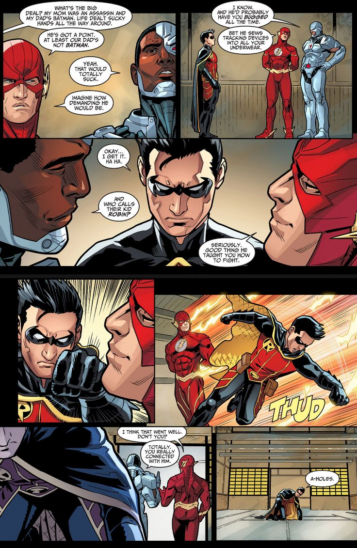 they (kind of) sympathize with Damian. injustice gods among us year four issue 6