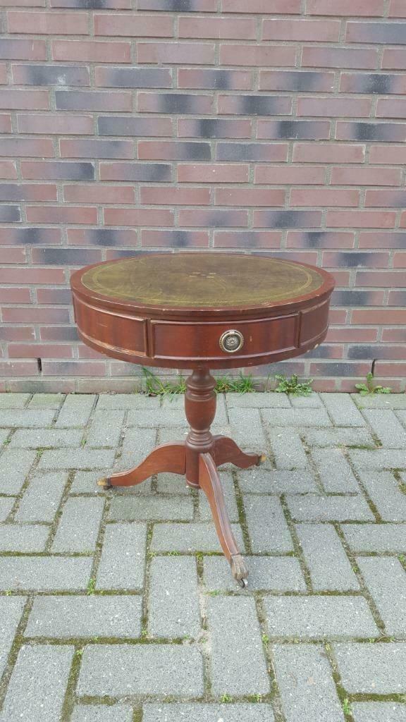 Mahonie Ronde Bijzettafel.Antieke Drum Table Ronde Bijzettafel Mahonie En Leer S7