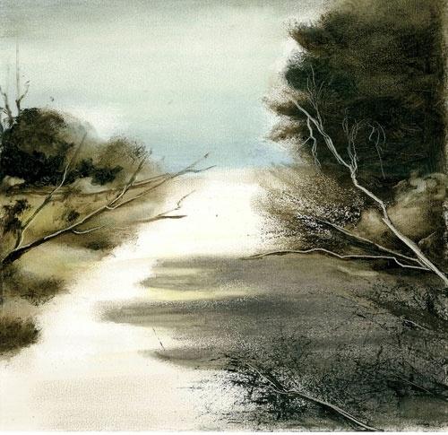 VIOLA DOMINELLO  'Beach Road'  2011  conte, charcoal and oil on paper  26 x 27 cm