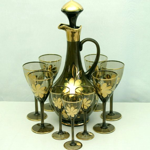 Romanian Glass Decanter Set, Decanter with 6 Wine and 3 ...