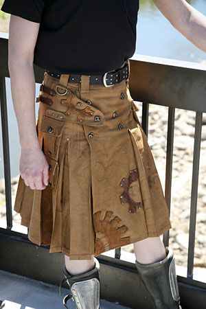 Regina Davan says her goal is to put every man in a kilt. Her steampunk kilts feature heavy brass clasps and locks, and images of gears. (Photo by PointyKitty Studios)