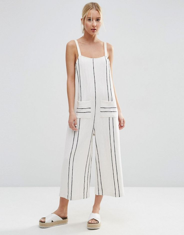 Image 1 of ASOS Jersey Overall in Stripe with Pockets
