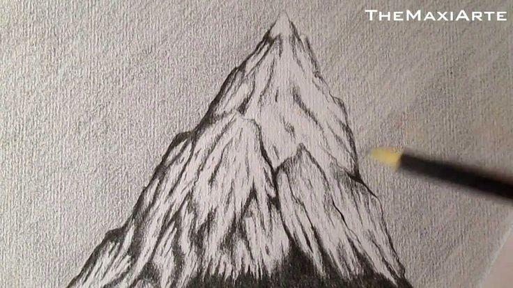 Cómo dibujar una montaña con nieve a lápiz, paisajes HD