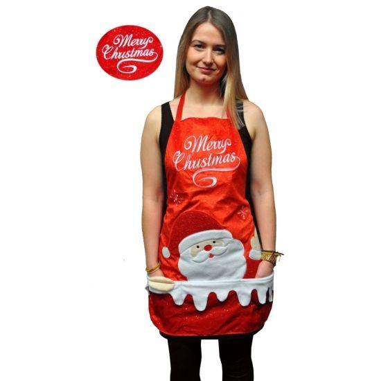 Kerstkleding schort Merry Christmas. Verkleed schort in de kleur rood met de tekst: Merry Christmas. Het kerstschort is ongeveer 72 x 53,5 cm groot. Geschikt voor volwassenen.