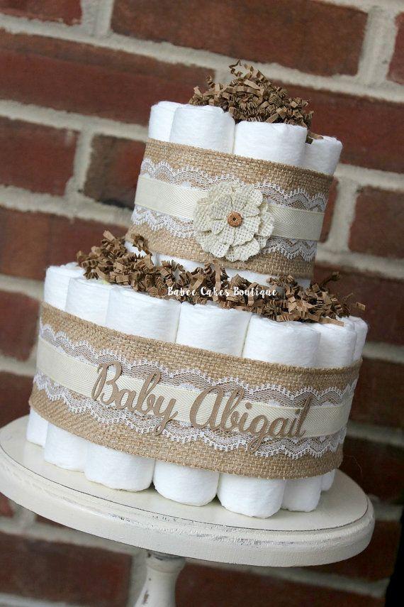 Mini 2 Tier Shabby Burlap Diaper Cake Burlap by BabeeCakesBoutique