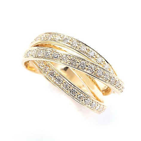 Sonia Bitton Galerie de Bijoux 14K Gold 0.87 cttw Diamond Wide Crossover Band Ring