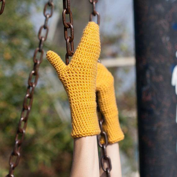 Yellow Mustard Winter Mittens / Yellow Mustard Crochet Arm Warmers / Warm Winter Gloves / Fall Winter Accessories / Best Christmas Gift