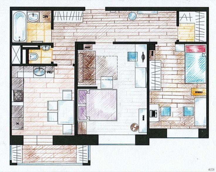 Планировка двухкомнатной квартиры 60 м.кв.