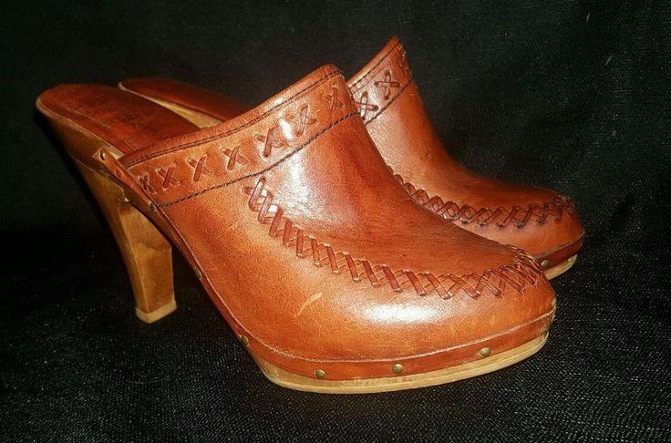 Vtg 70s WOODWORKS Thom McAn boho hippie stitched high heel clogs 7M  | eBay