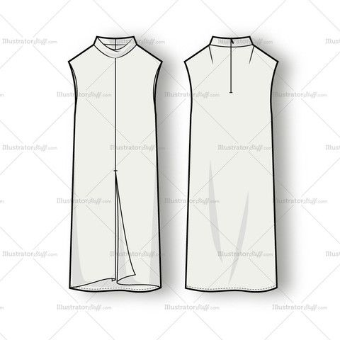 Women's Sleeveless Mock Neck Dress Fashion Flat Template