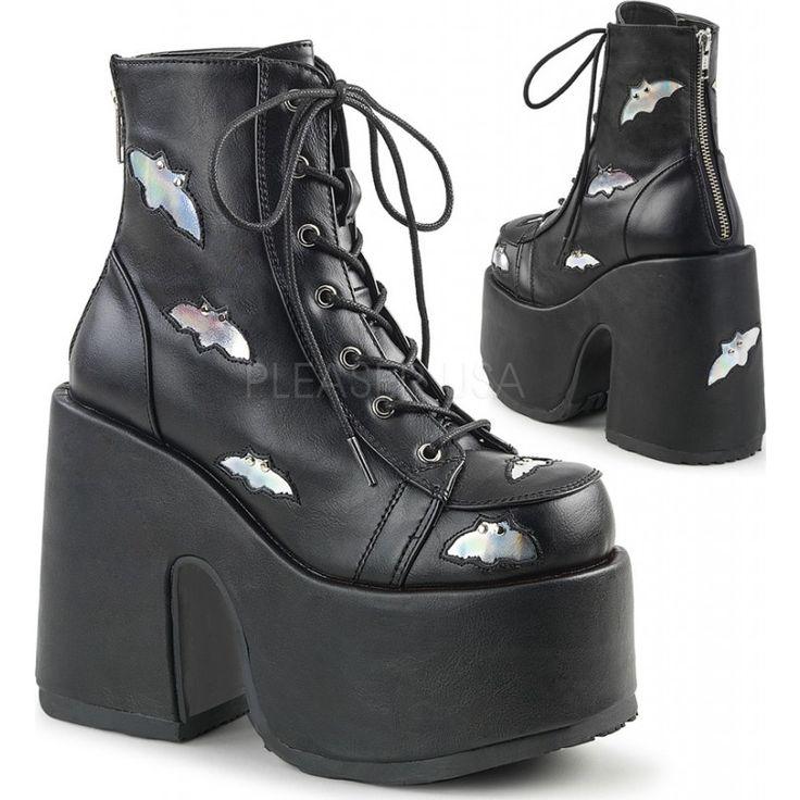 Demonia Shoes - CAMEL-201 Black Hologram Vegan Leather - Buy Online Australia Beserk