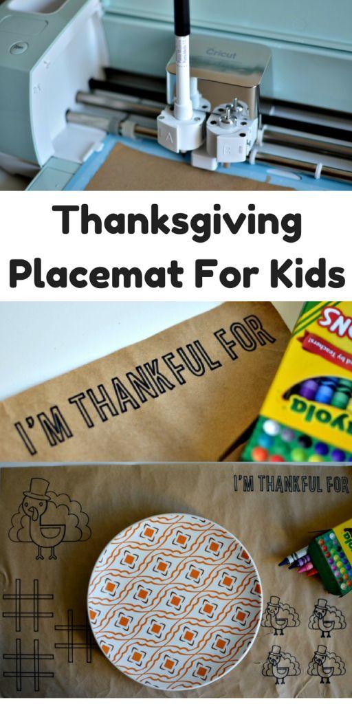 DIY Thanksgiving Placemats For Kids #ad #cricutmade @cricut