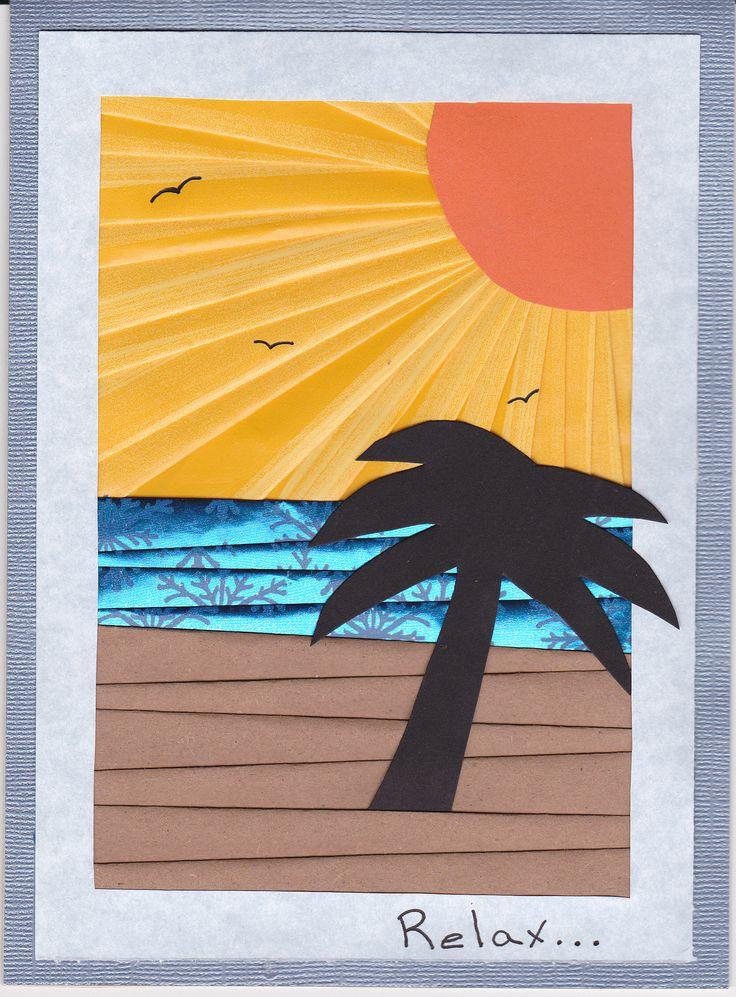 Sunset iris folding handmade card by artist, Melanie Blystra