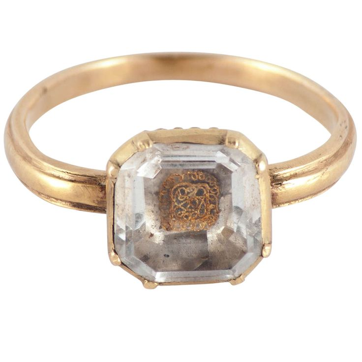 Antique Seventeenth Century Stuart Crystal Gold Ring | From a unique collection of vintage more rings at https://www.1stdibs.com/jewelry/rings/more-rings/