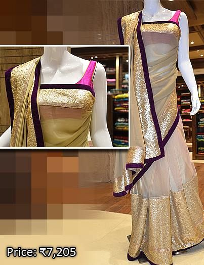 Net saree in half and half from our red-hot designer collection. Visit Pothys Boutique, G N Chetty Road, T Nagar, Chennai, for the finest in designer sarees.