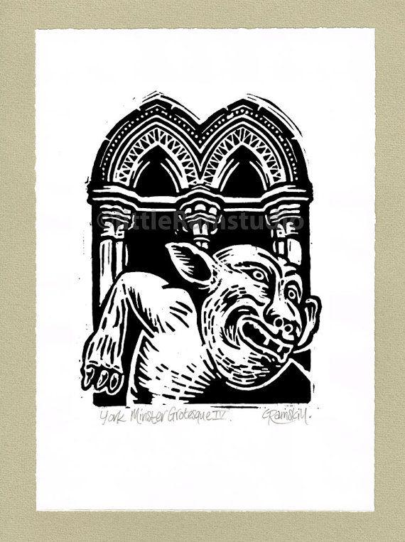 York Minster Grotesque No 4  Linocut Original by littleRamstudio
