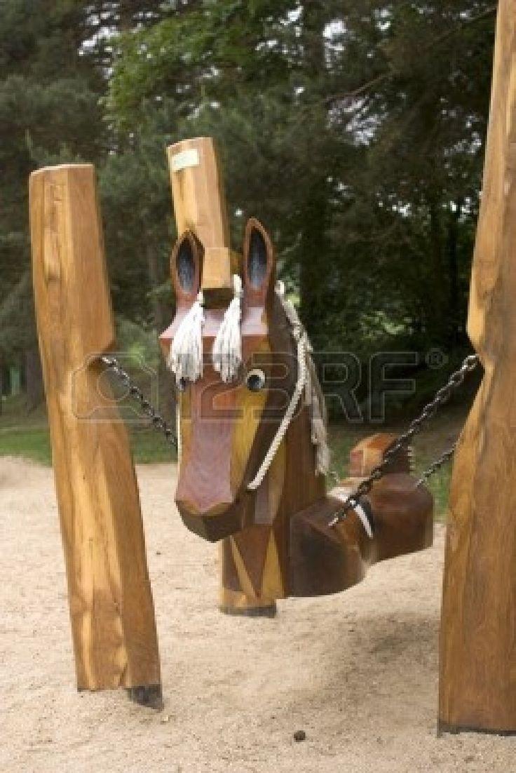 Wooden horse swing free patterns - Creative Swing In Chldren S Playground Wooden Horse