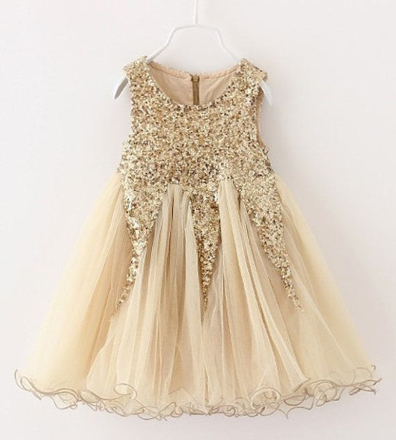 Ivory Gold Glitter Tulle Dress Gold Sequin by BabicakesCouture