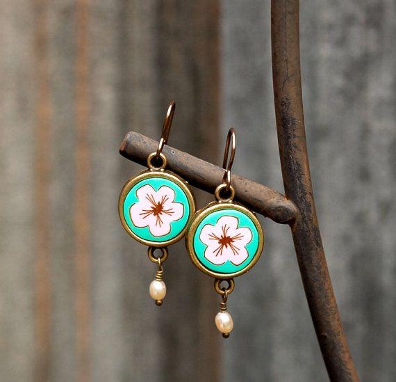 dangle earrings polymer clay earrings freshwater by zhabkadesigns