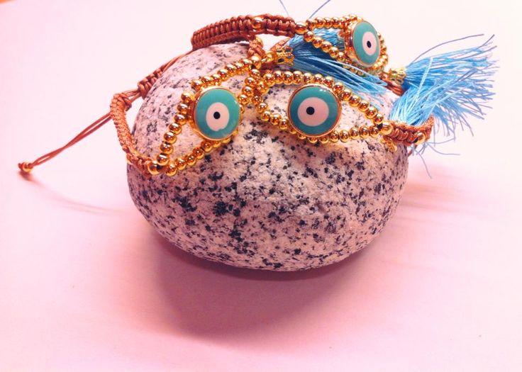 Χειροποίητα βραχιόλια μάτι με φουντάκι Handmade bracelets Spring-Summer 2015