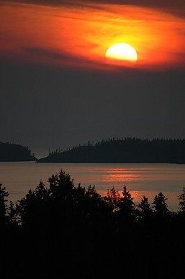 Lake Superior Sunset in Pukaskwa National Park near Marathon, Ontario