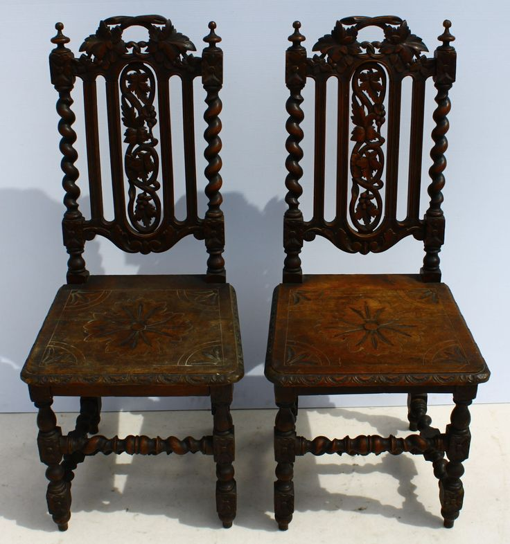 2 x French Antique Carved Oak Louis XIII Dining Room Chairs  circa 1860-1880  size per chair: 450 L x 440 W x 1100 H  @R15000 for both  Call 076 706 4700  www.furnicape.co.za    1001