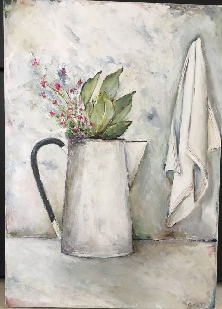 Flowers in jug with dishcloth, acrylic art on canvas
