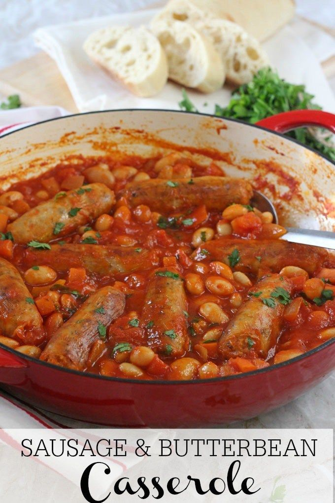 A quick and easy family dinner recipe; Sausage & Butterbean Casserole cooked on the hob in less than 30 minutes! My Fussy Eater blog