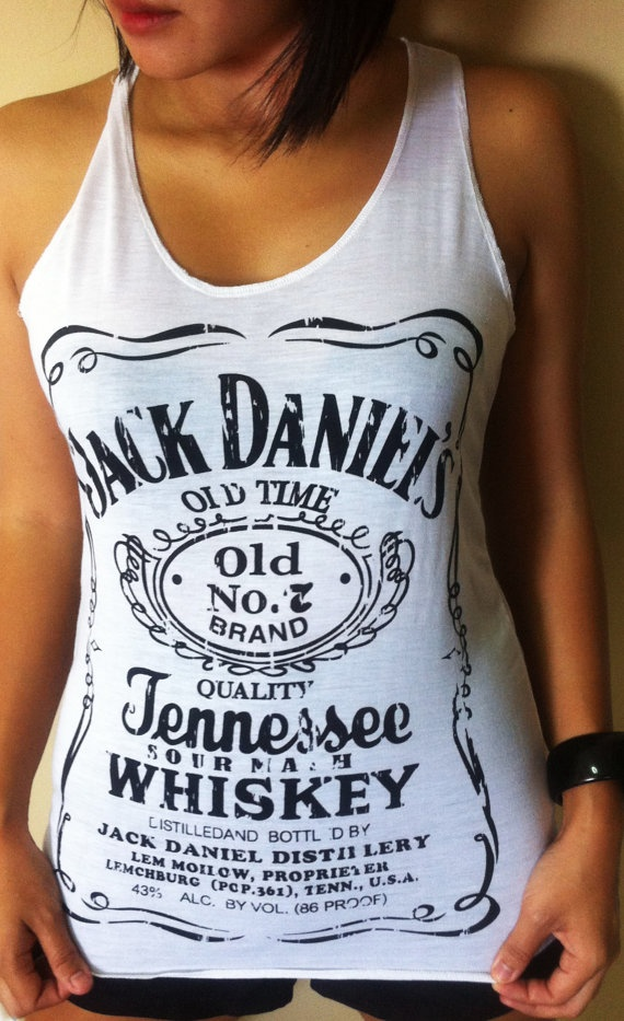 Jack Daniel's Whiskey White T-shirt Very Thin Cotton Tank Women's Tops Vest S M. $12.00, via Etsy.