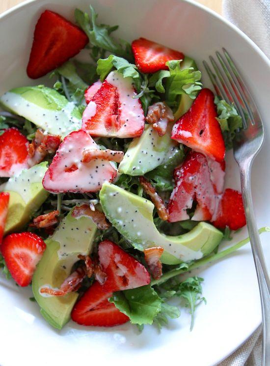 Strawberry, Avocado, Kale Salad with Bacon Poppyseed Dressing!