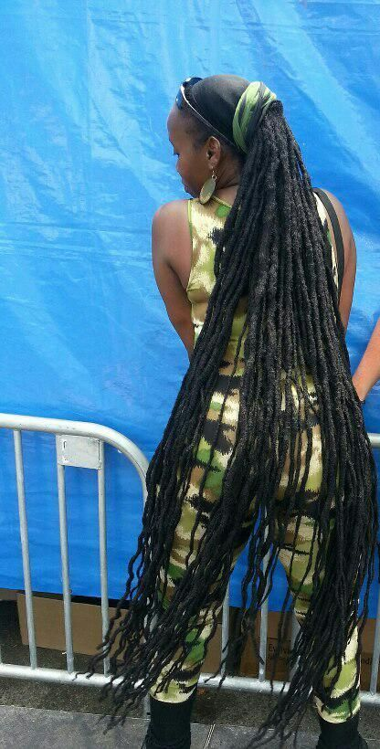 Long dreads down to her feet