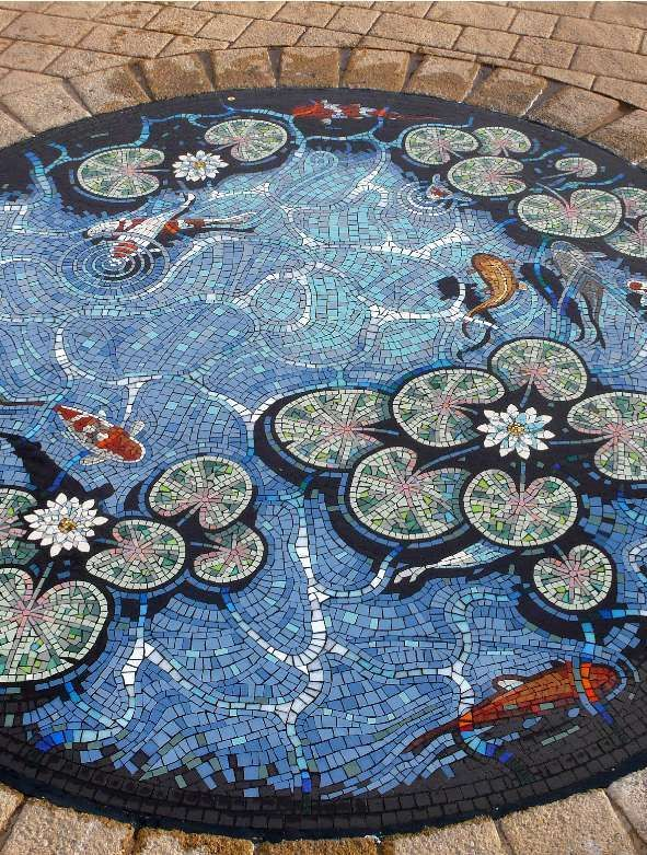 Lily koi pond trompe l'oeil mosaic floor by mosaic artist Gary Drostle ©2008 http://www.drostle.com/mosaicartist.html
