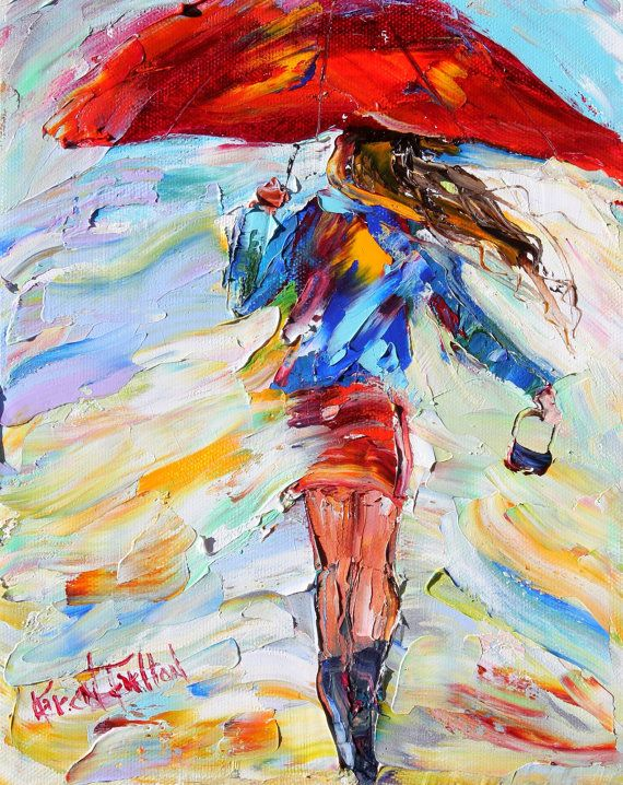 Original oil painting Rain Dance on canvas by Karensfineart