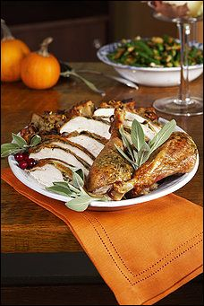 Herb-Crusted Roasted Turkey (spatchcocked)- butterflying the turkey cuts the cook time immensely! (This is our dinner tonight, rubbed with Essential Oil infused butter!) YUM!