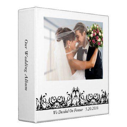 Modern Black & White Wedding Photo Album Binder - modern gifts cyo gift ideas personalize