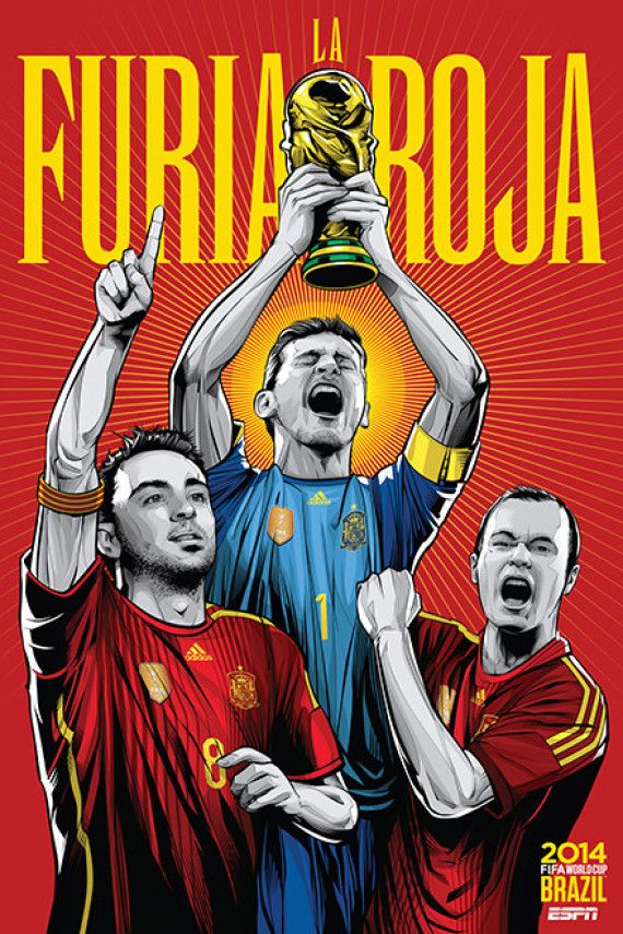 España - Spain, Afiches fútbol Copa Mundial Brasil 2014 / World Cup posters by Cristiano Siqueira