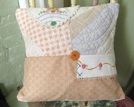 14x14 Vintage Linen Quilt  Repurposed pilllow cover